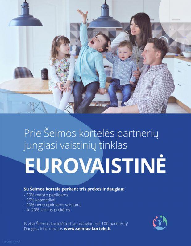 """""""Eurovaistinė"""" – pirmoji šalyje prie Šeimos kortelės prisijungusi vaistinė"""