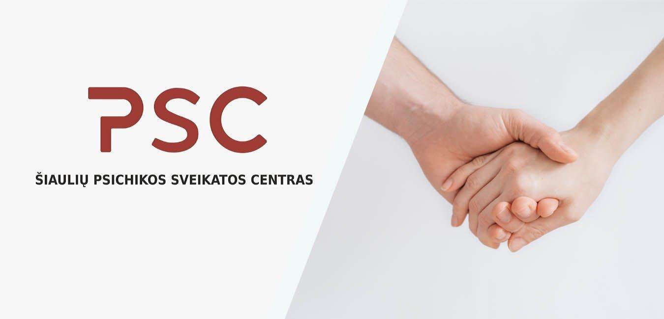 Įmonės logotipas ir dešinėje dvi susikibusios rankos.
